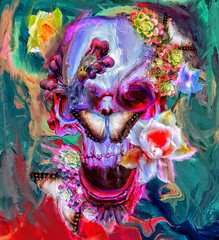 Skull with mushrooms and flowers