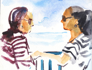 Sketch travel concept summer vacation on the ship, vacation collection. watercolor illustration.