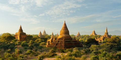 View of buddhist temple,stupa,in the historical park of Bagan,Myanmar