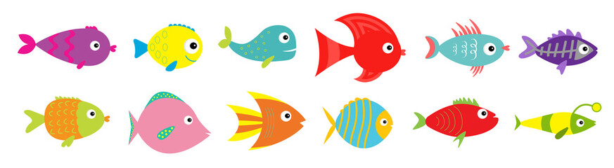 Cute cartoon fish icon set line. Sea ocean animal. Baby kids collection. Flat design. White background. Isolated.