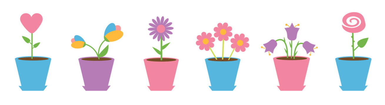 Flower pot set line. Daisy chamomile. Tulip, rose bluebell, heart, camomile flowers. Happy Valentines day card. White background