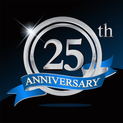 25th anniversary logo with blue ribbon and silver ring, vector template for birthday celebration.