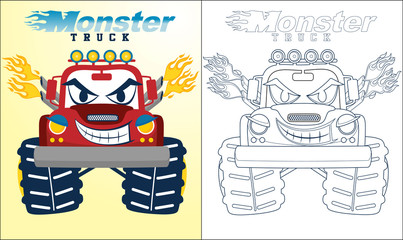 Coloring book or page of monster truck cartoon with creepy smile