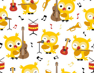 Canvas Prints Owls cartoon seamless pattern vector with owl cartoon playing music instruments