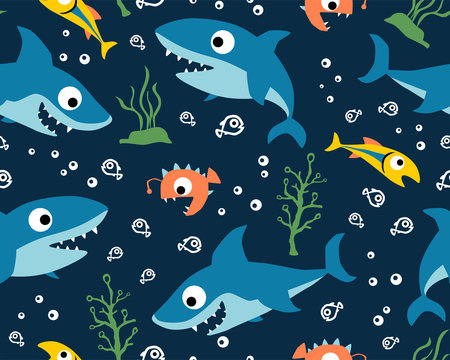seamless pattern vector with marine animals cartoon