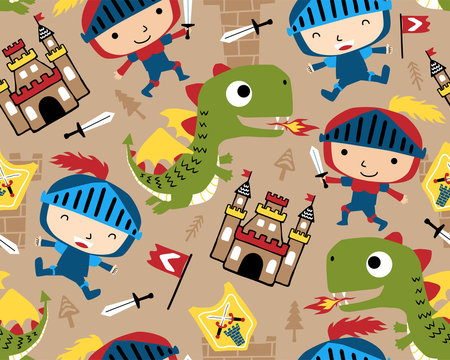 seamless pattern vector with little knight cartoon with funny dragon, castle, fairy tale theme cartoon