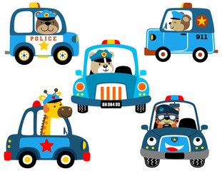 vector set of police cars with funny cops