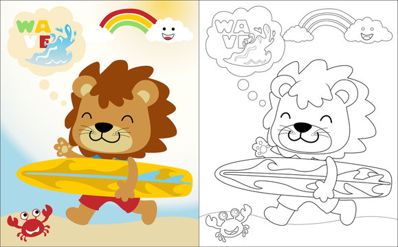Vector cartoon of funny lion with a surboard, coloring book or page