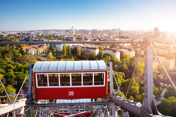 Wall Mural - Aerial view to Vienna in Austria from Ferris Wheel