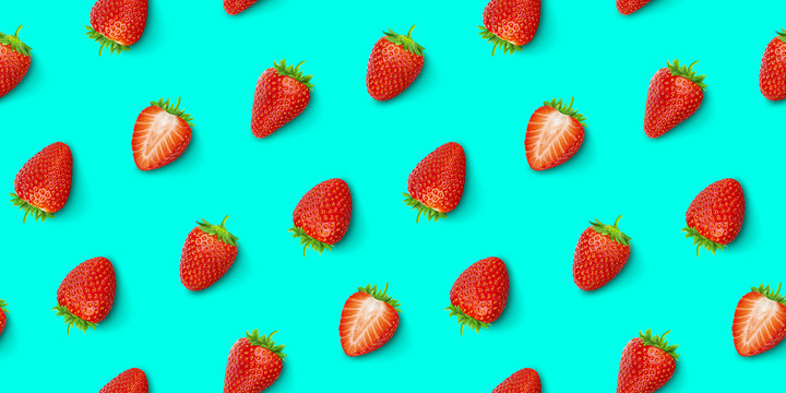 Strawberry seamless pattern, top view, flat lay