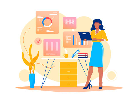 Data analysis, strategy. Woman is working with data on the laptop in the office. Flat vector concept illustration for website, banner, flyer. Isolated on white.