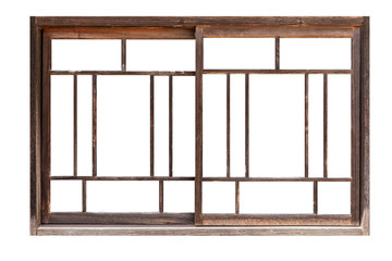 Antique wooden window frames isolated on white background