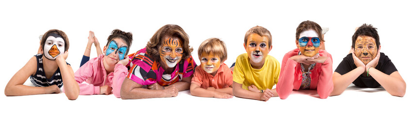 Kids and granny with animal face-paint Wall mural