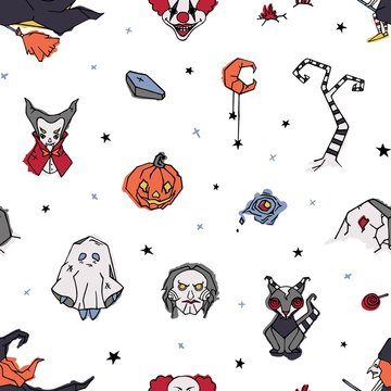 Halloween seamless pattern with creepy and spooky characters hand drawn on white background - ghost, clown, vampire, witch, Jack-o'-lantern