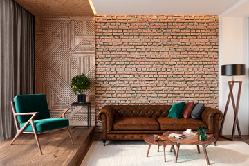 Modern living room interior with brick wall blank wall, leather brown sofa, green lounge chair, table, wooden wall and floor, plants, carpet, hidden lighting. 3d render illustration mockup. Fotomurales