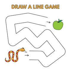 Cartoon Snake Draw a Line Game for Kids