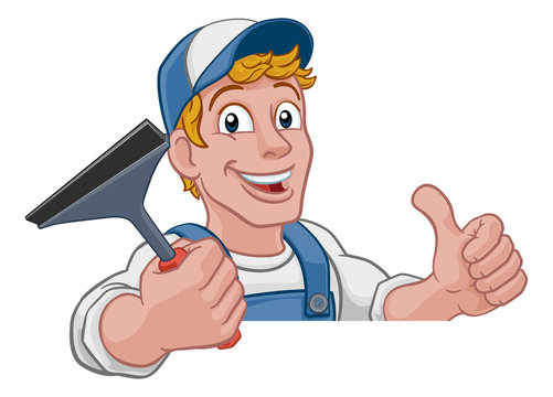 Window cleaning cartoon cleaner mascot man holding a carwash squeegee tool. Peeking over a sign and giving a thumbs up.