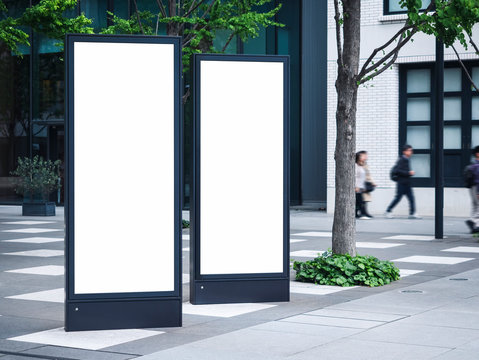 Blank mock up Light Box set Template Vertical sign stand outdoor Public building