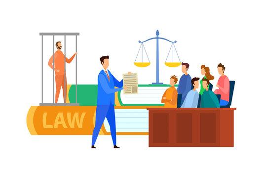 Jury Trial Process Cartoon Vector Illustration