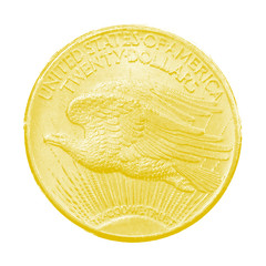 Twenty dollars with a picture of a Bald eagle. Reverse of a gold coin. Golden American money on a white background.