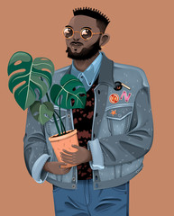 Stylish Young Man Carrying Plant