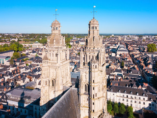 Tours Cathedral aerial view, France