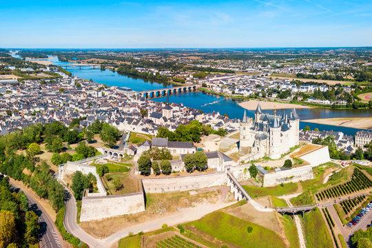 Saumur city aerial view, France