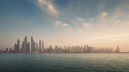 Fotomurales - timelapse of skyscrapers in Dubai Marina, sunset time, UAE