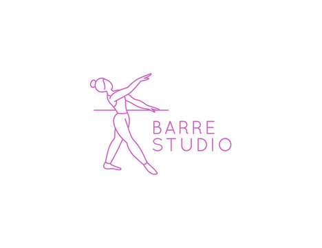 Vector abstract logo design template in trendy linear minimal style - barre studio