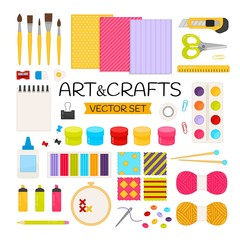 Vector set Art&crafts. Cartoon elements for drawing and creativity. Bright set for website templates, banners, posters.