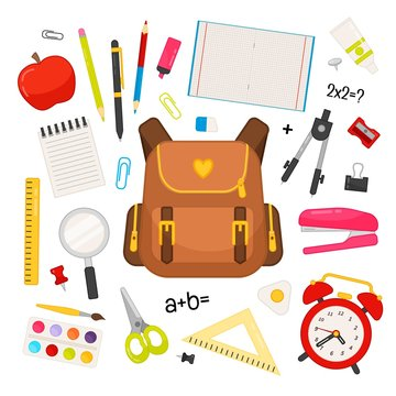 Vector illustration of a school backpack and study supplies.