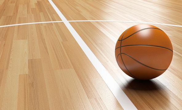 Basketball on Wooden Court Floor 3D rendering