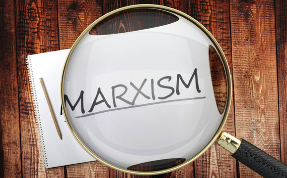 Study, learn and explore marxism - pictured as a magnifying glass enlarging word marxism, symbolizes analyzing, inspecting and researching the meaning of marxism, 3d illustration