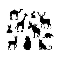 Vector illustration, set of cartoon animal s silhouettes. Camel, fox, jaguar, elk, bear armadillo hare deer impala giraffe