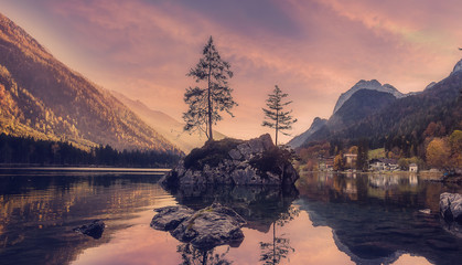 Colorful Sunset on Wonderful Alpine Highlands. Magic View on Hintersee lake