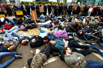 Protests ahead of German drug and crop chemical maker Bayer's annual general meeting