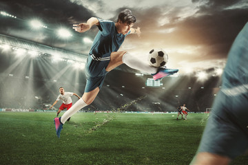 Two caucasian fit active men as soccer players fighting with ball at stadium. Game concept. Competitive spirit. 3D model of the stadium was created by me - the author.