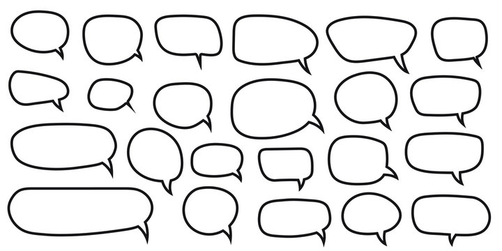 Speech Bubbles Set of Outlined Circle Distorted Rectangle and Square Blank Trendy Shapes, Black Elements on White Background, Vector Flat Graphic Design