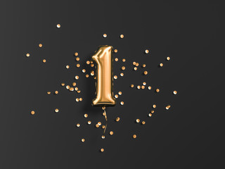 One year birthday. Number 1 flying foil balloon and gold confetti on black. One-year anniversary background. 3d rendering Fototapete