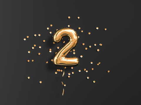 Two year birthday. Number 2 flying foil balloon and gold confetti on black. Two-year anniversary background. 3d rendering