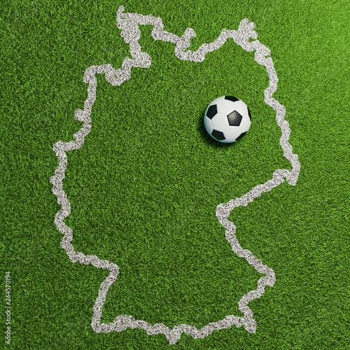 Deutschland Umriss Auf Rasen Mit Berlin Als Fussball Stock