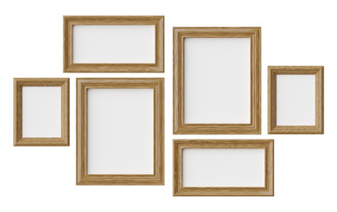 Wooden picture or photo frames isolated on white with shadows