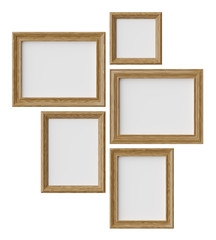 Wood picture or photo frames isolated on white with shadows