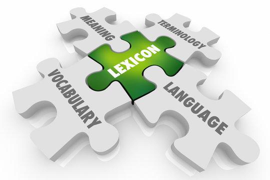 Lexicon Language Vocabulary Puzzle Pieces Communication 3d Illustration