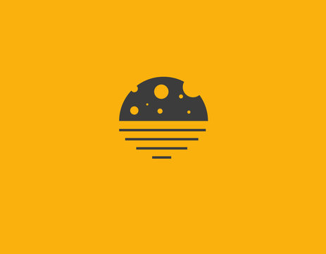 Abstract yellow logo moon on water silhouette for business company
