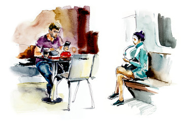 People in the megapolis. Watercolor hand drawn illustration