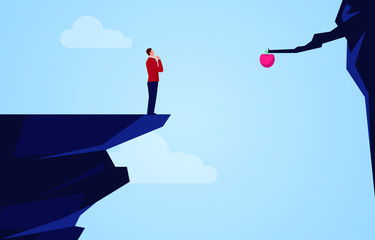 Businessman standing on the edge of the cliff thinking about how to get the apple across the cliff