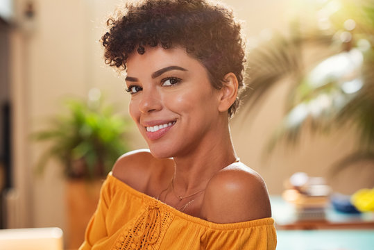 Smiling young african woman