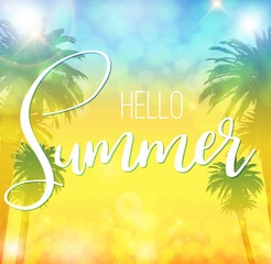 Hello Summer banner with palms and lettering. Offer banner