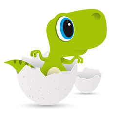 Vector funny cartoon baby Dinosaur in egg. Isolated on white background.